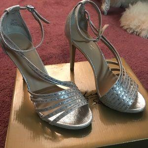 Thalia Sodi Silver Strappy Heels!